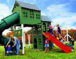Click picture to see all seventeen models of these heavy duty plastic, modular play systems!