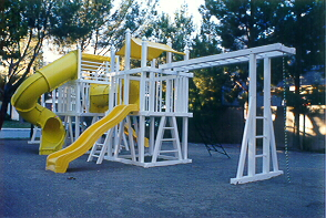 Click picture to view samples of these fine play structures, with may custom features!