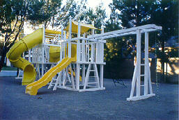 Circle Industries, Steel Reinforced Poly-Tuff (PVC) Structural Vinyl Play Sets. Custom Unit shown